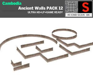 3d acient walls pack 10 model