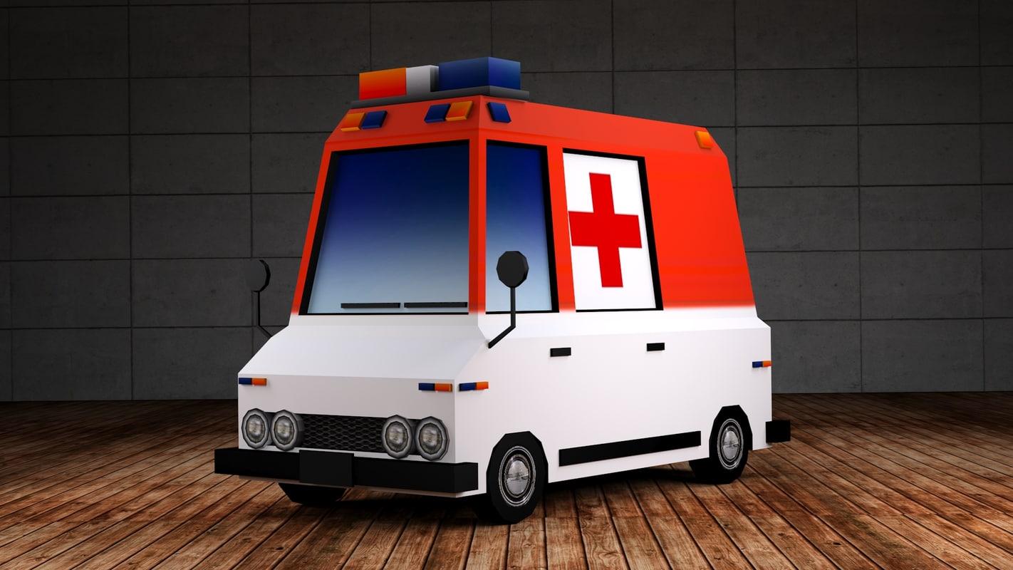 3d ambulance - red cross model
