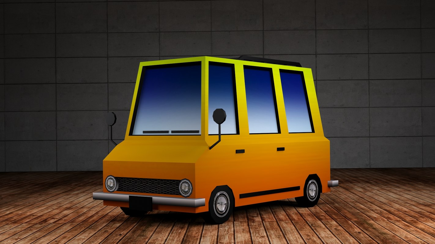 3d max mini bus - cartoon cars