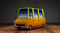 3d max mini bus - cartoon cars