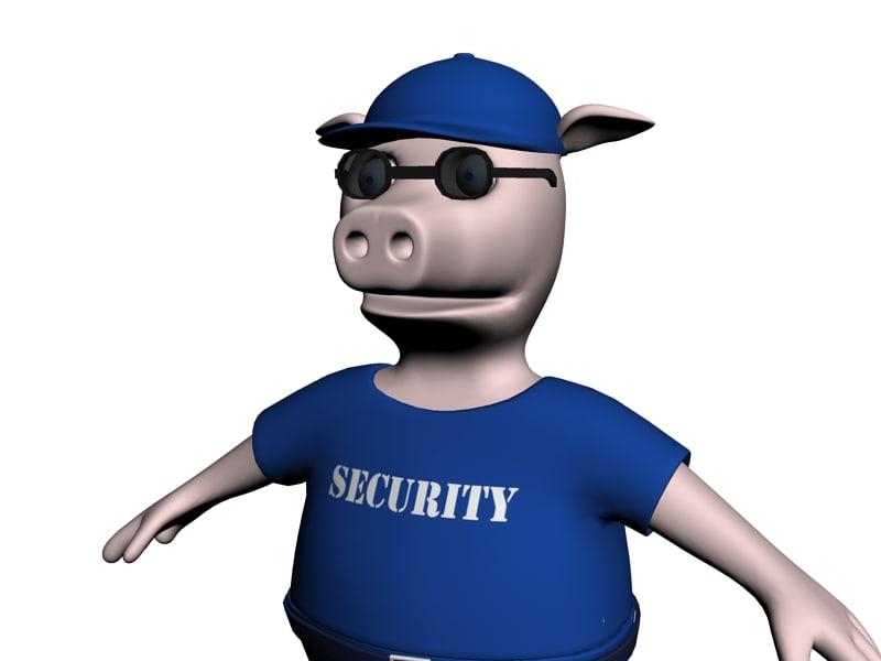 3d model pork security officer
