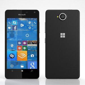 3d obj realistic lumia 650 black