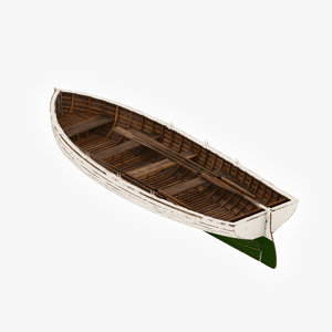 3d old wooden boat