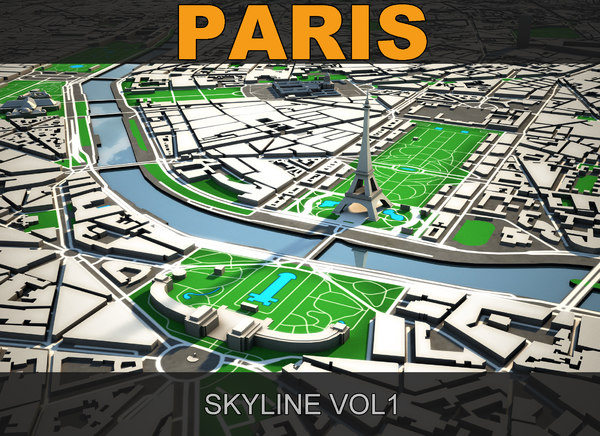 paris skyline 3d model