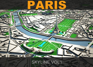 paris skyline 3d model