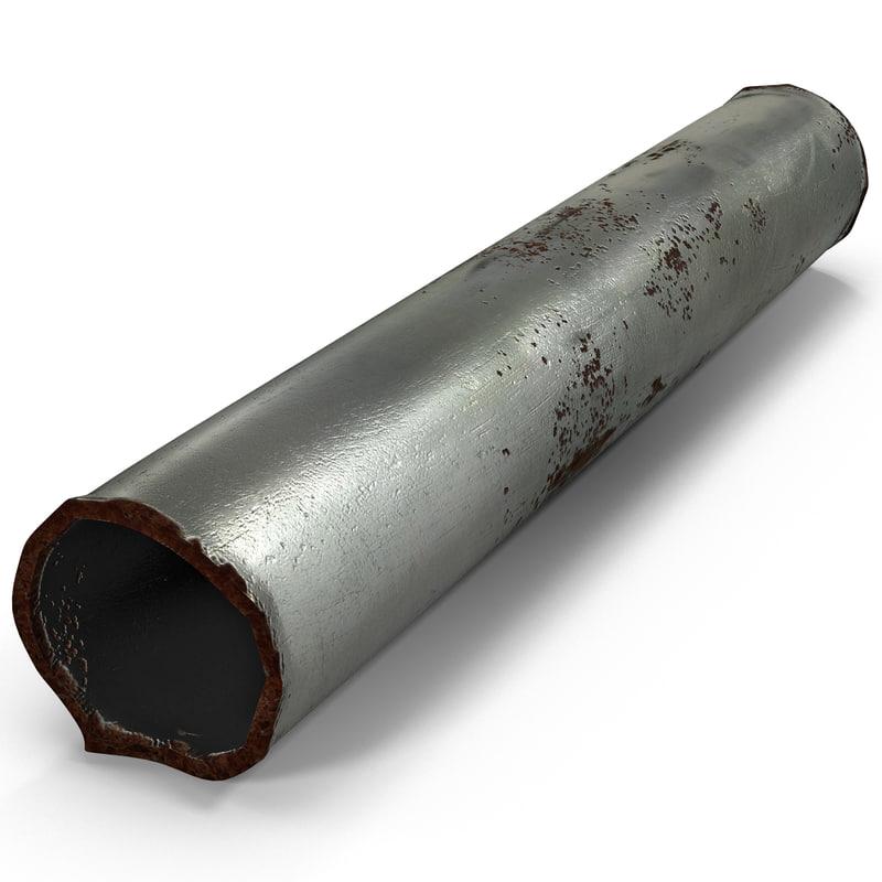 3d model of broken iron pipe 4