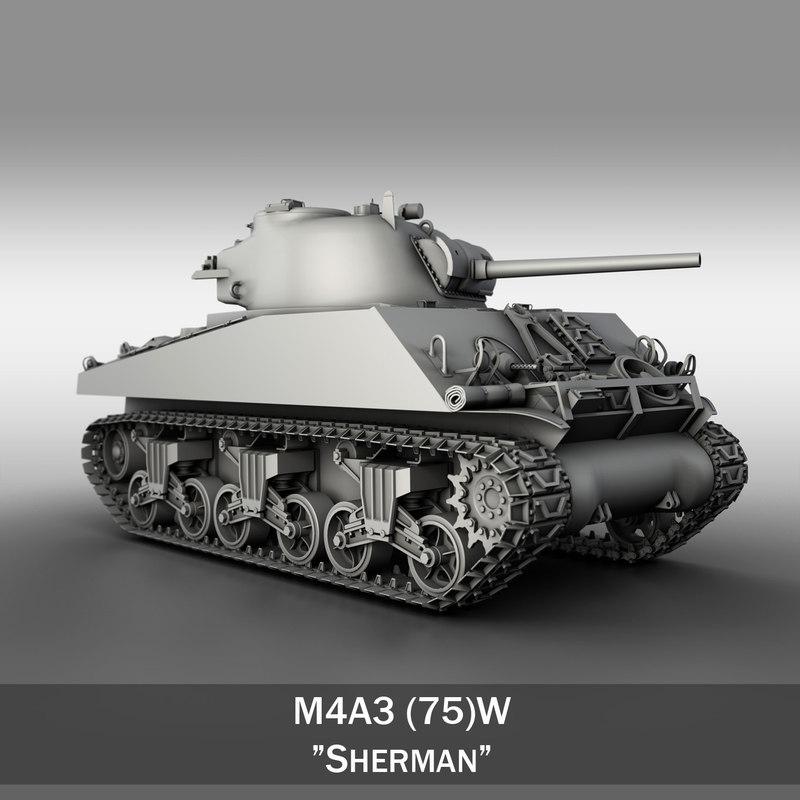 3d m4a3 sherman - m4 model