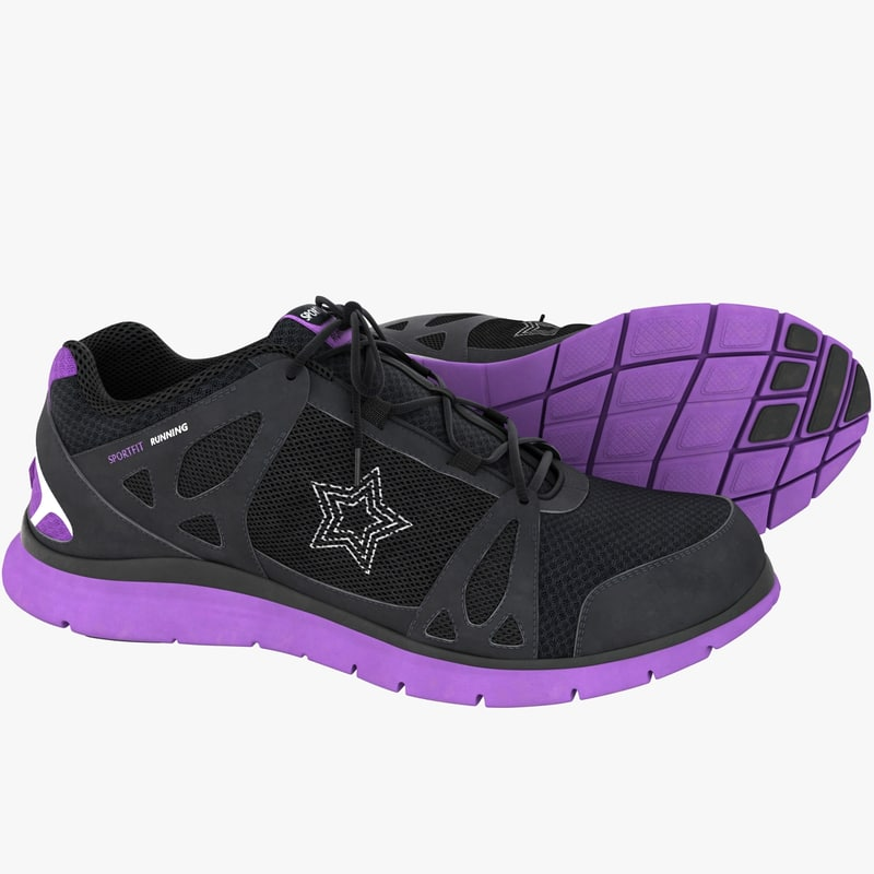 female running sport shoes 3d model