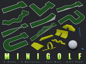 3d obj minigolf golf club