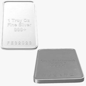 silver platinum ounces 3d model