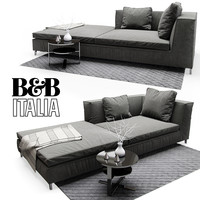 sofa table rug 3d model