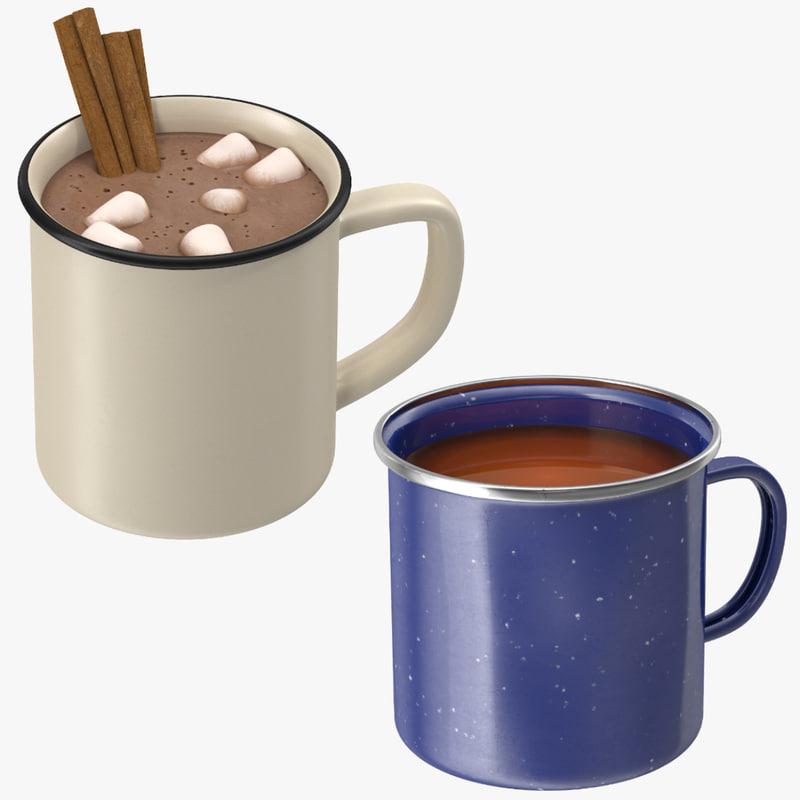3d model of hot tea chocolate cup