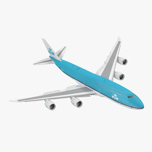 3d model boeing 747-8i klm rigged