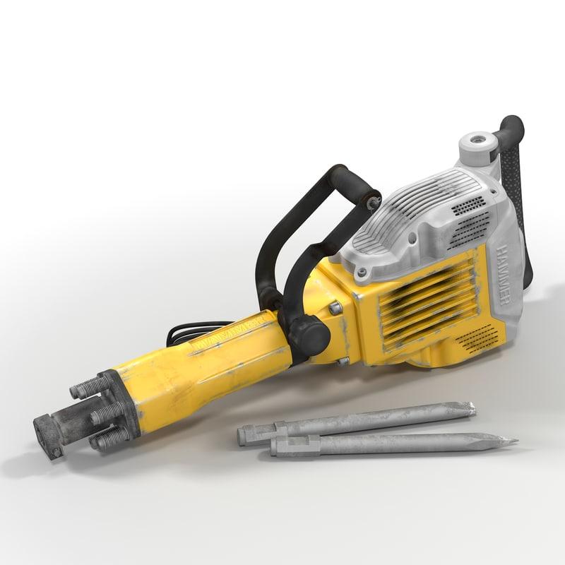 3d electric demolition jack hammer model