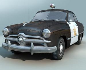 3d model retro police car