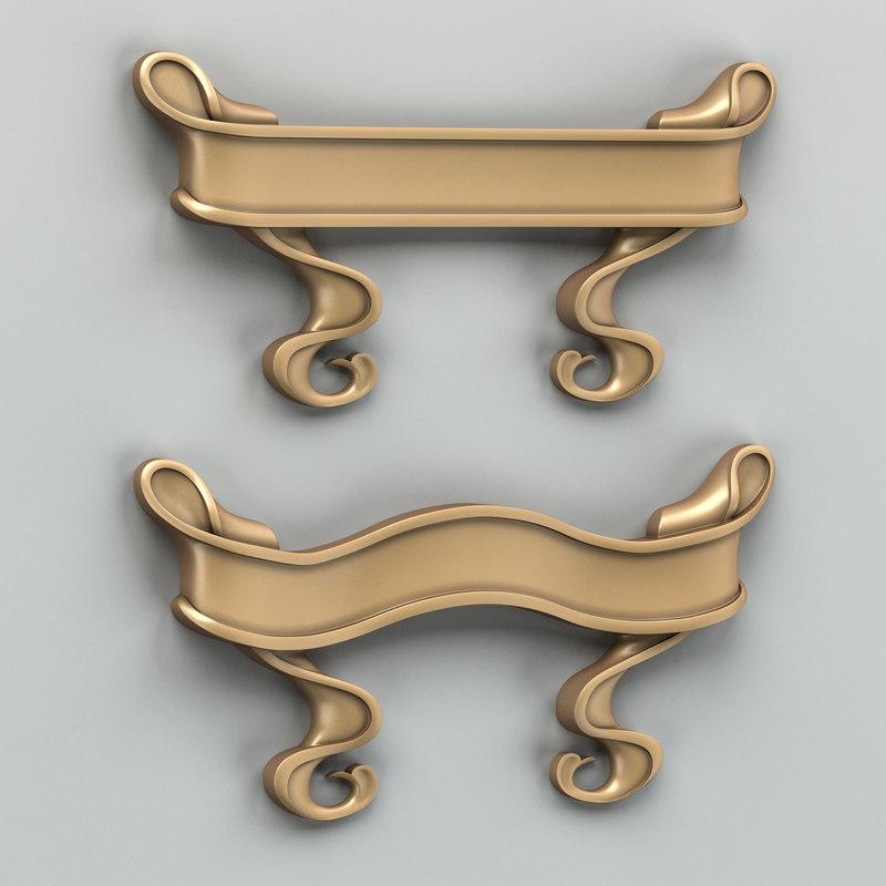 free obj model decorative ribbon