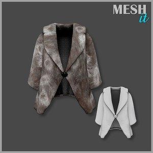 jacket brown fur 3ds