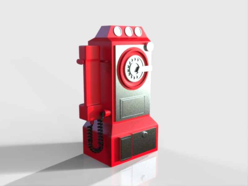 3d model old telephone