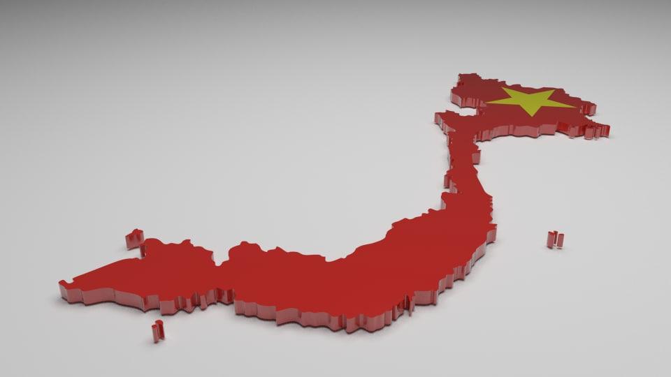 3d vietnam flag