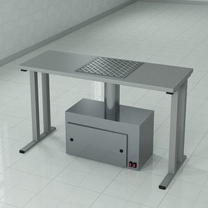 3d model table integrated working surface