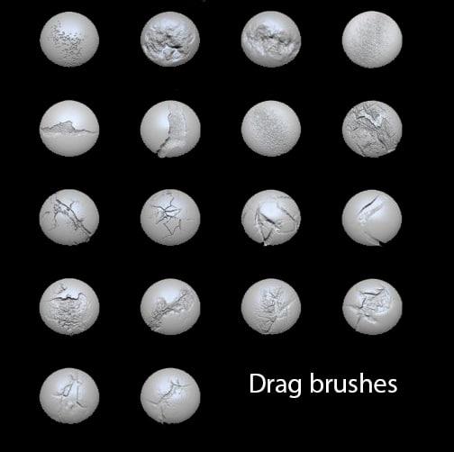 drag brushes for Zbrush