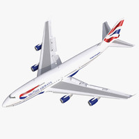 3d boeing 747-400 british airways model