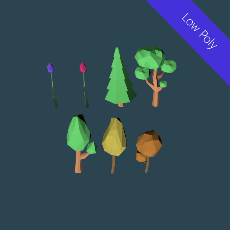 3d model trees set flowers