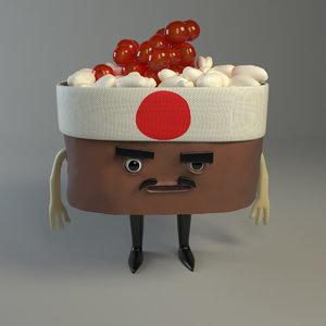 3d model of mr sushi samurai