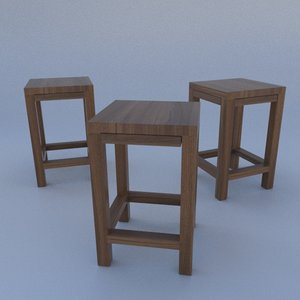 3d wooden bar chair model