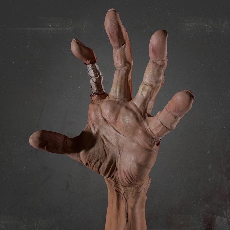 3d model zombie hand