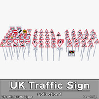 3d model uk traffic sign 1