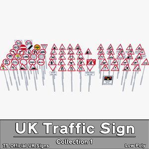 3d model uk traffic sign 1