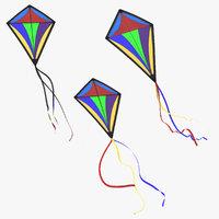 3d model of kite 3 poses
