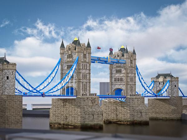 london tower bridge modelled 3d c4d