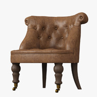 Restoration Hardware /Sophie Tufted Leather Slipper Chair