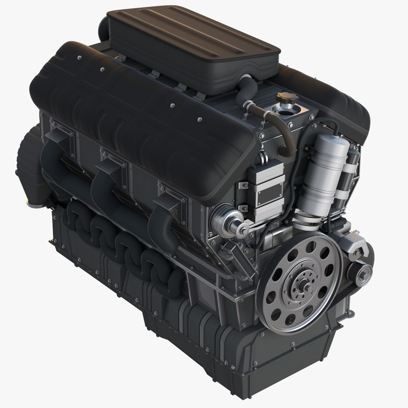 car engine 3d fbx