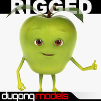 dugm07 rigged cartoon apple 3d max