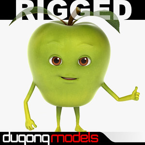 dugm07 rigged cartoon apple 3d max