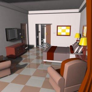 cartoon hotel room 3d 3ds