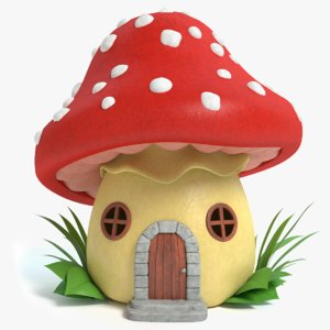3d model of cartoon mushroom house