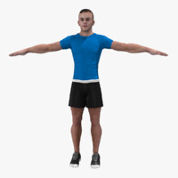 3d model athletic rigged male