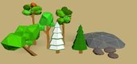trees rocks 3d max