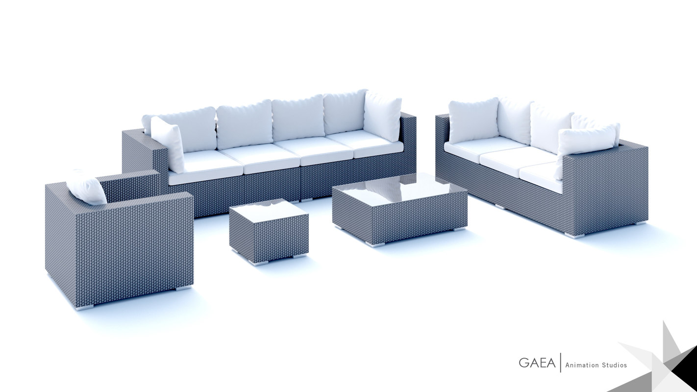 beliani wicker lounge set 3d model