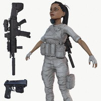 PBR Game Ready Female Soldier with LODs