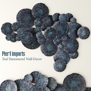 teal hammered wall decor 3d model