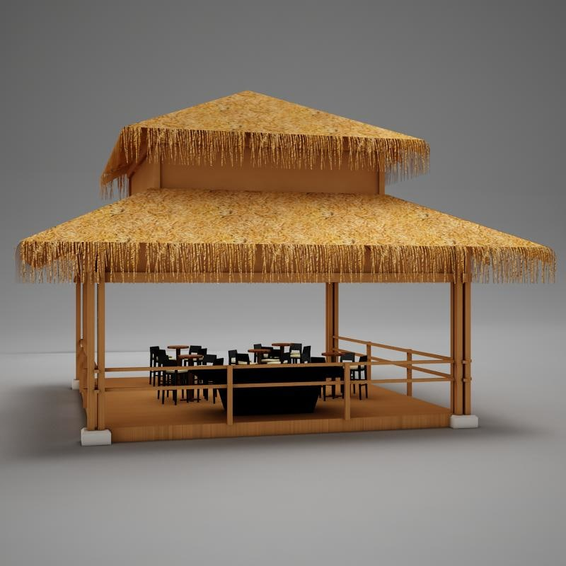 pool rancho tiki bar 3d max