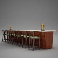 bar counter chairs 3d max