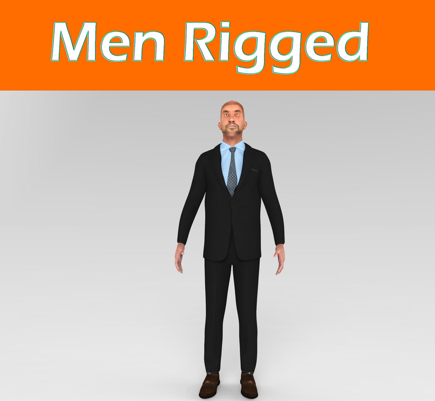 3d model men rigged character