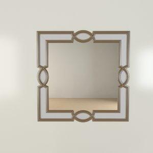 3d ornamental brass mirror model