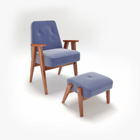 3d retro chair ottoman model